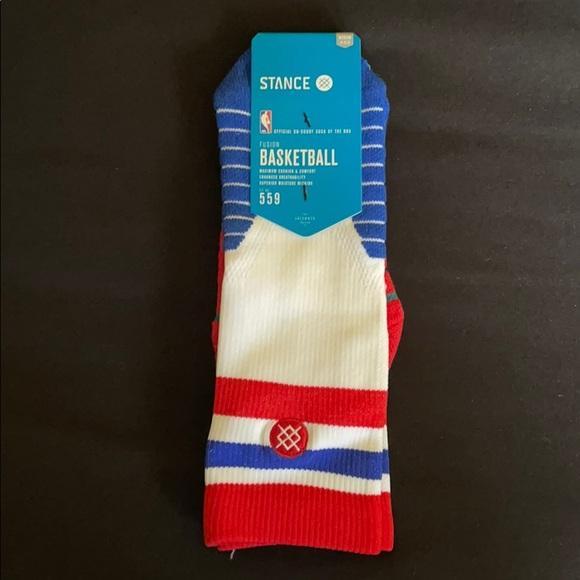 Stance Basketball Socks NBA Red White Blue Men's M
